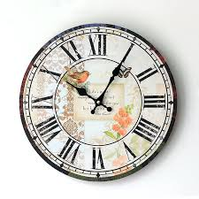 Antique Style Large Clock Coloured Drawing Bird Home Decorative Wall Wooden 35 Cmchina Seiko Gold