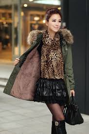 green womens winter coats faux fur lining parka with fur hood on