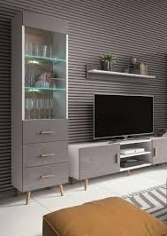 wohnzimmer set a hohgant 3 teilig farbe weiß grau hochglanz