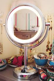 Vanity Table With Lights Around Mirror by Furniture Standing Round Swivel Mirror With White Lights Around