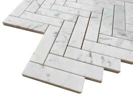 bianco polished 1x4 herringbone marble mosaic tile