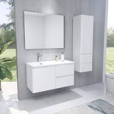 badschrank schmal hochglanz weiß bademöbel hochschrank mit