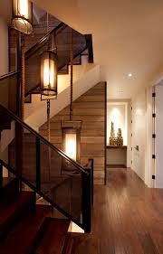 Rustic Hallway Lighting Staircase Contemporary With Metal Railing Light Fixture