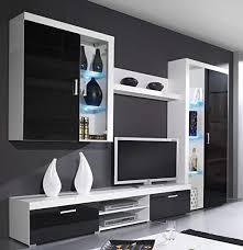 furniture24 wohnwand samba b anbauwand lowboard hängevitrine schrank hängeregal mediawand weiß schwarz hochglanz