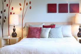 Nice Lighting On Bed Side Tables And Natural Wall Mural For Feng Shui Bedroom Decor