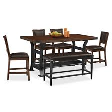 Value City Kitchen Table Sets by Newcastle Counter Height Table 4 Chairs And Bench Mahogany