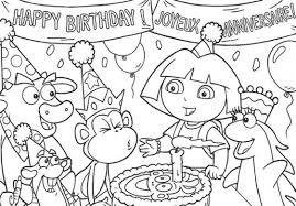 Happy Birthday Coloring Pages Dora The Explore In