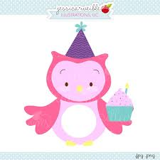 Birthday Cupcake Owl Clipart JW Illustrations