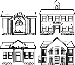 Restaurant School Police Building Coloring Page For Pages