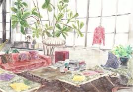 Interior Living Room Sofa Chair Furniture Design Illustration