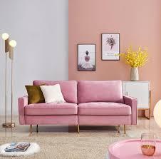 modern samt stoff sofa 180cm rosa modern velvet fabric sofa mit 2 dekorative kissen