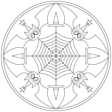 Click To See Printable Version Of Halloween Mandala With Bats Coloring Page