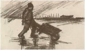 Image ly Van Gogh Peasant Walking with a Wheelbarrow