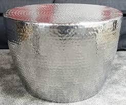 michaelnoll couchtisch modern wohnzimmertisch sofatisch beistelltisch tisch groß aus metall hammerschlag orient aluminium rund silber luxus 58 cm