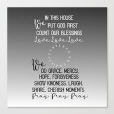 In This House We Put God First Count Our Blessings Quote Canvas Print