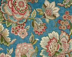 Jacobean Floral Design Curtains by Teal Curtains Etsy