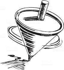 spinning top clipart black and white 2