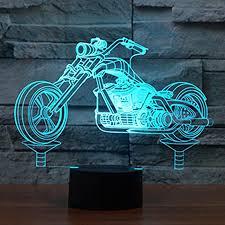 motorrad 3d illusion le led nachtlicht usb stromversorgung 7 farben blinken berührungsschalter schlafzimmer schreibtischle für kinder