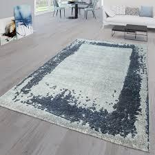 wohnzimmer teppich bordüre meliert grau blau