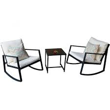 Black Outdoor 3-Piece Patio Furniture Set With 2 Rocking Chairs ... Hampton Bay Black Wood Outdoor Rocking Chairit130828b The Home Depot Garden Tasures Chair With Slat Seat At Lowescom Amazoncom Casart Indoor Wooden Porch Chairs Lowes White Patio Wicker Rocker Wido 3 Piece Set 2 X Black Rocking Chair And Table Garden Patio Pool Ebay Graphics Of Imposing Walmart Recliner Sale Highwood Usa Lehigh Recycled Plastic Inoutdoor 3pc Set With Cushion Shop Intertional Concepts