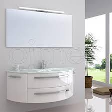 oimexgmbh design badmöbel set côte d azur weiß hochglanz waschtisch 120cm inkl led beleuchtung armatur und spiegel badezimmermöbel set mit glas