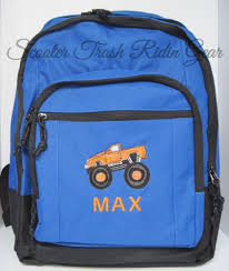 100 Monster Truck Backpack Personalized Book Bag Royal Red Charcoal