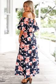 navy blue boho vibe floral print off shoulder maxi dress chiffon