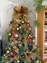 Rustic Christmas With Colorful Ball And Green Brown F Ribbon On Dark Blue Tree Decoration Ideas