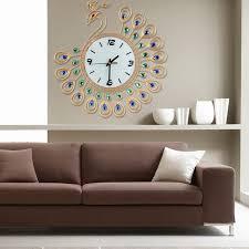 Cu3 Luxury Diamond Peacock Large Wall Clocks Metal Living Room Decor