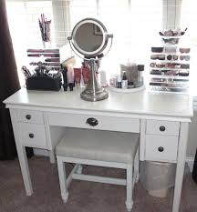 bedroom White Makeup Vanity Table Storage Unit With Leather