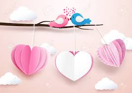 Cute Heart Shape Mobile Hanging With Branches And Couple Birds In Love Paper Art