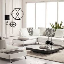 contemporary living room design with white leather sectional sofa