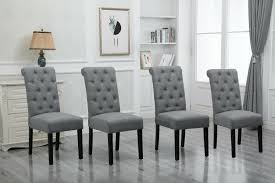 Set 4 Gray Dining Chairs High Back Fabric Upholstered Button Tufted Dining  Room
