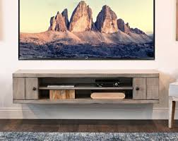 Rustic Gray Beach House Floating TV Stand