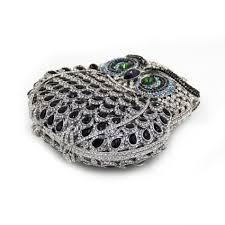 milisente women evening bags ladies owl shape crystal clutch bag