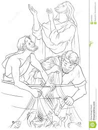 Royalty Free Vector Download Jesus And The Miraculous Catch Of Fish Coloring Page