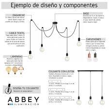 Colgante 1 Luz Con Cable Textil En Niquel O Cobre Abbey