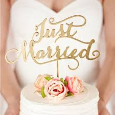 Just Married Rustic Wedding Cake Topper Engagement Wooden