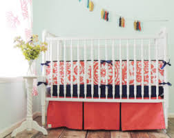 Coral And Navy Baby Bedding by Custom Crib Bedding Aqua And Coral Baby Bedding Coral