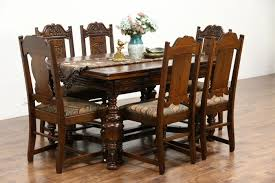 100 Oak Table 6 Chairs SOLD Tudor 1925 Antique Carved Dining Set