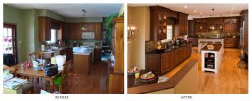 Kitchen Remodels Before And After Traditional Design Remodel Into Classic Elegant With New Oak Cabinets Black Granite Glossy Wood Floors