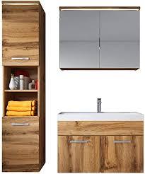 badezimmer badmöbel set paso led 80 cm waschbecken wotan braun unterschrank hochschrank waschbecken spiegelschrank
