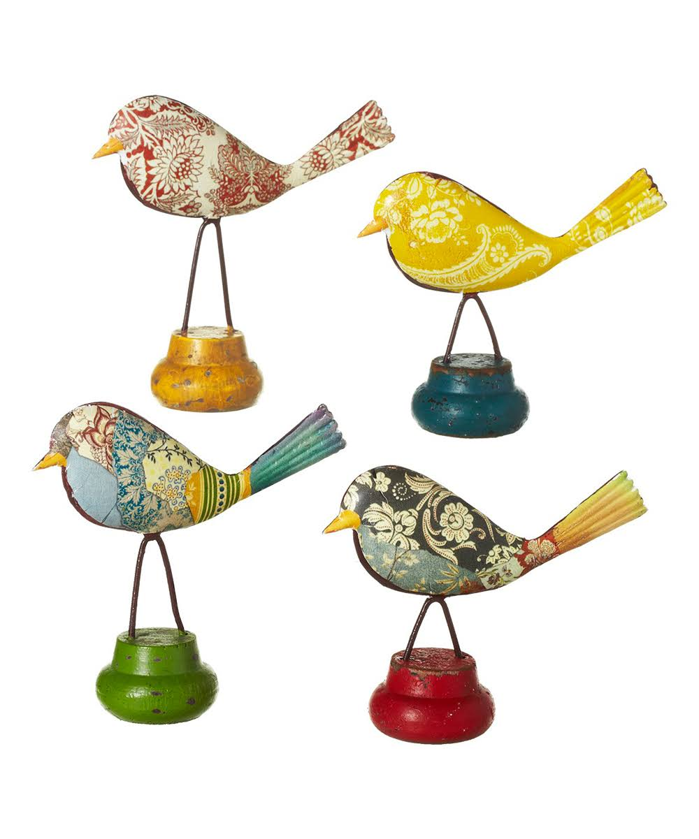 Diva at Home Set of 8 Yellow, Red, Green and Black 4 Assorted Floral Pattern Birds 4""
