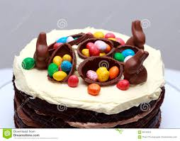 dreifache torte schokolade nutella ostern stockbild bild
