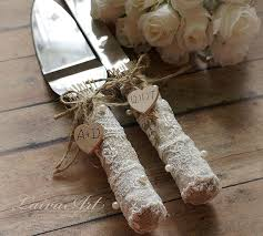Rustic Wedding Cake Server Set Knife Country Burlap