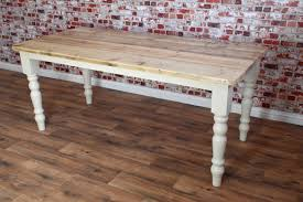 Scrub Top Stripped Pine Reclaimed Wood Kitchen Dining Table Rustic Farmhouse Style