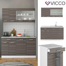 vicco küchenzeile single einbauküche 140 cm küche edelgrau