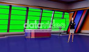 News 027 TV Studio Set Virtual Green Screen Background PSD