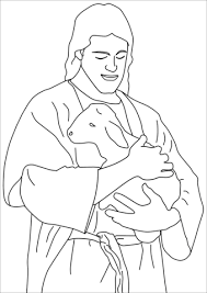 Click To See Printable Version Of Jesus Christ Holding A Lamb Coloring Page