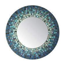 Blue Mosaic Bathroom Mirror by Deep Blue Round Mosaic Mirror By Opusmosaics On Etsy 135 00